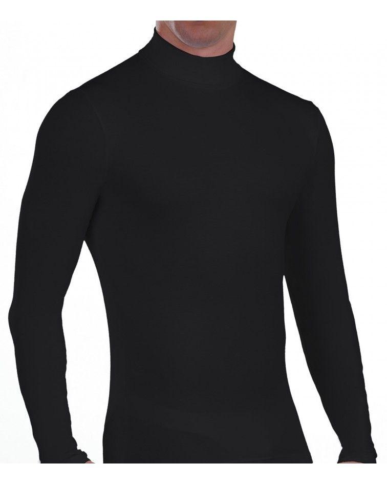 Ανδρική Μπλούζα ζιβάγκο, μακρύ μανίκι, μαύρο