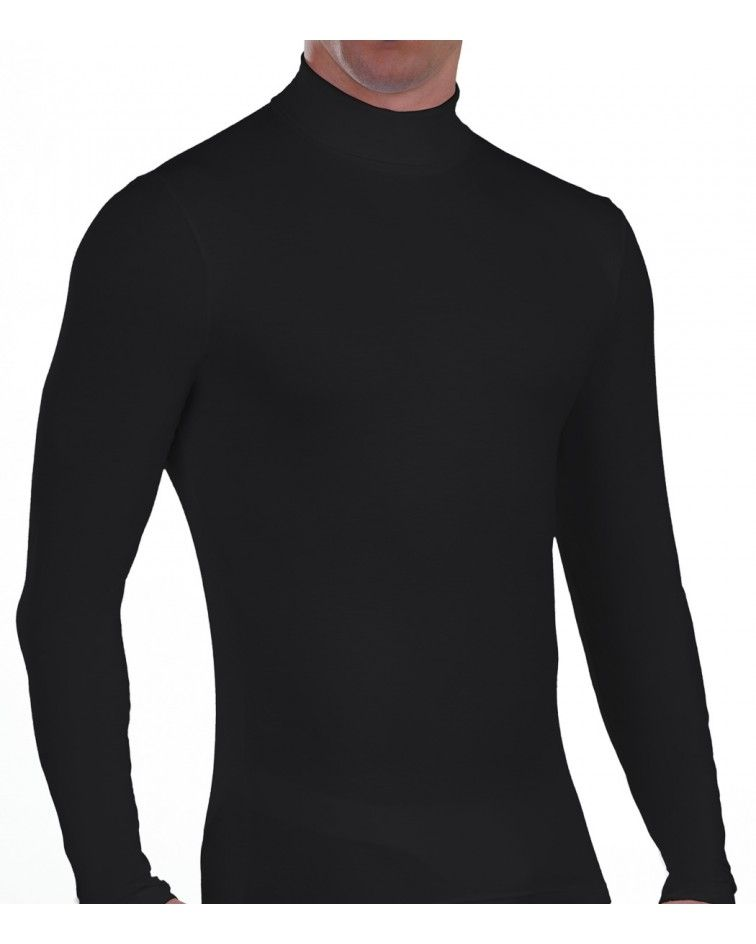 Men turtle neck, Long Sleeve, Viscose, black