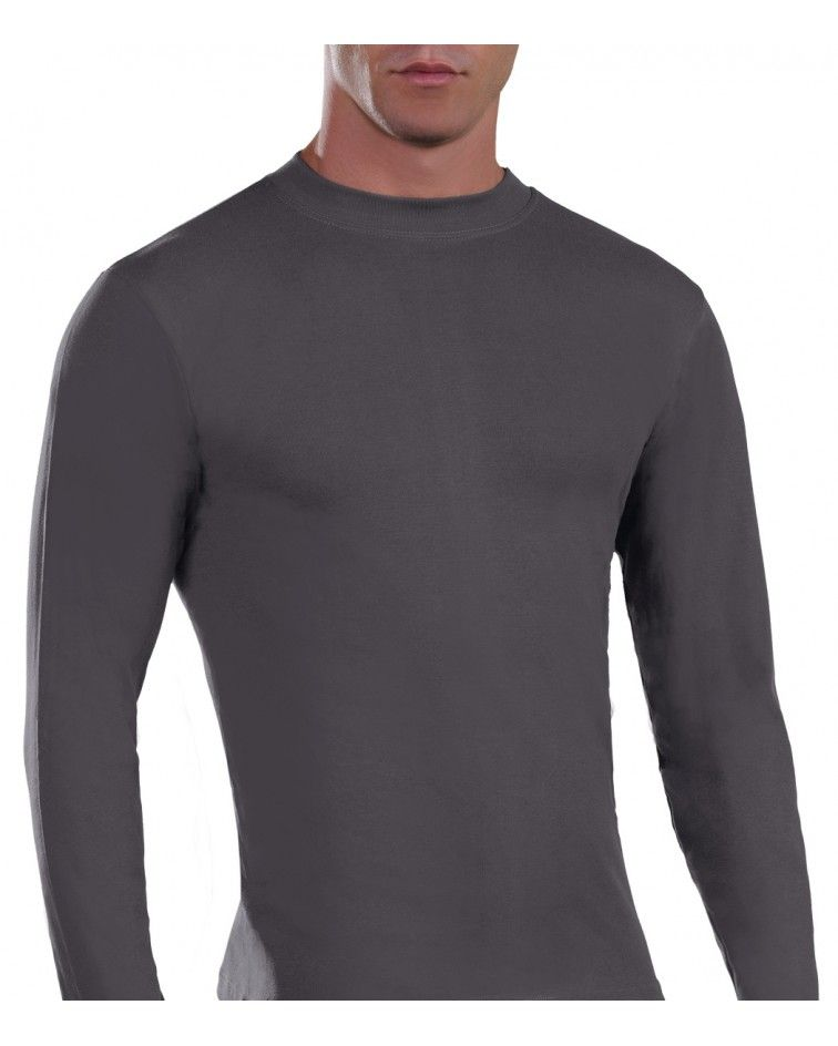 Mens Long sleeve, crew neck, charcoal