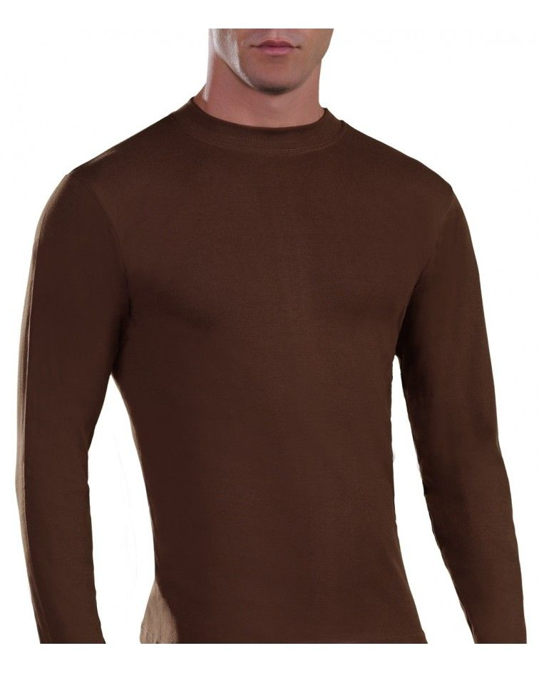 Mens Long sleeve, crew neck, brown