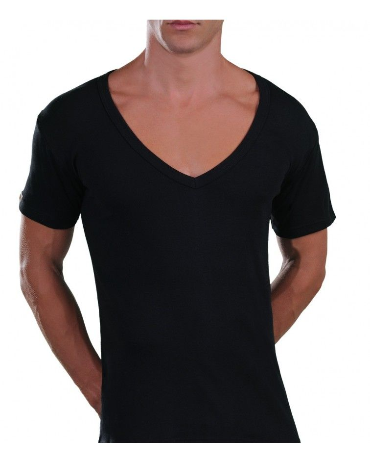 Too Open Neck T-Shirt, black
