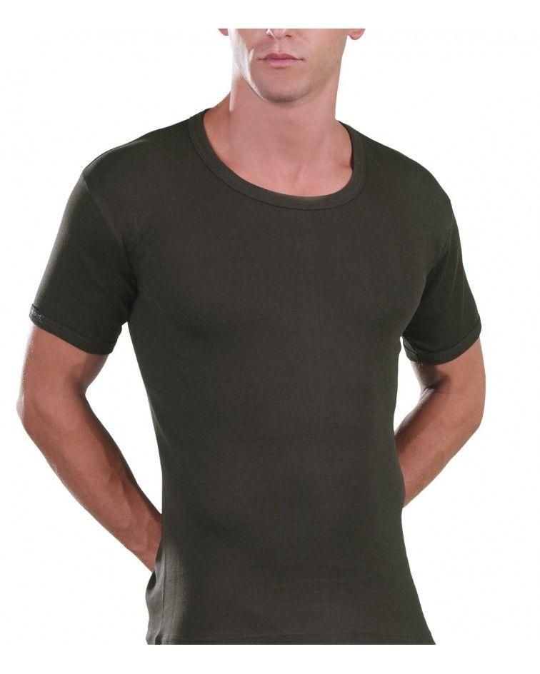 Open Neck T-Shirt, khaki
