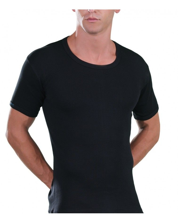 Open Neck T-Shirt, black
