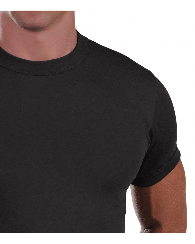 Men, T-Shirt, Elastic, black