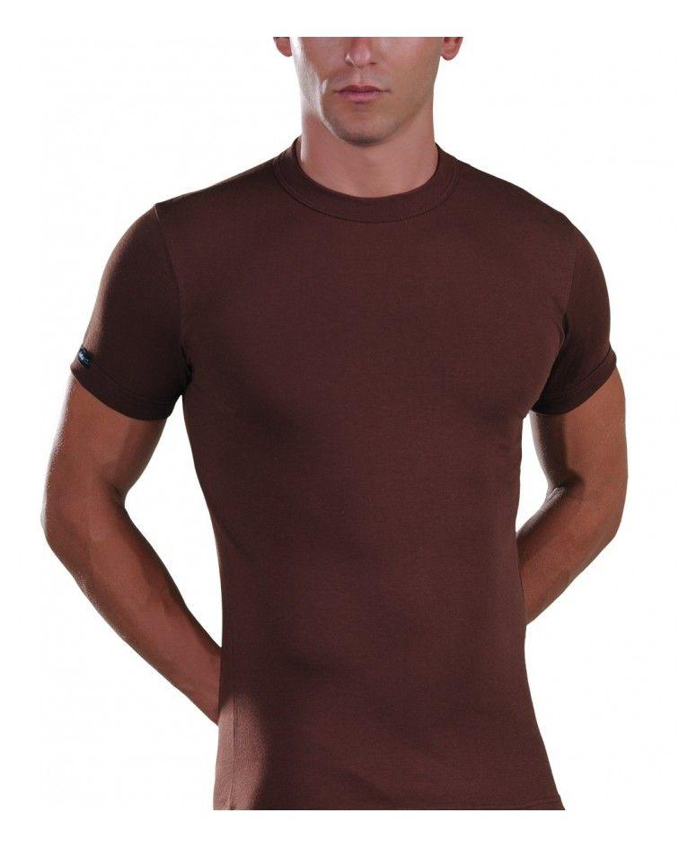 Men, T-Shirt, Elastic, brown