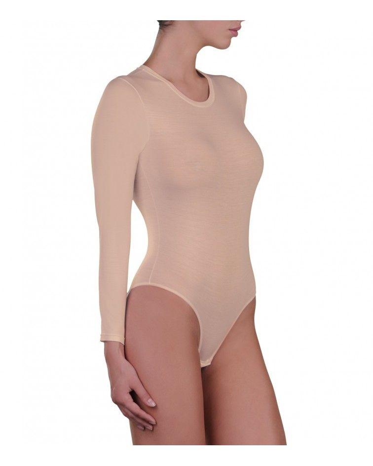 Body, long sleeve, micromodal, beige
