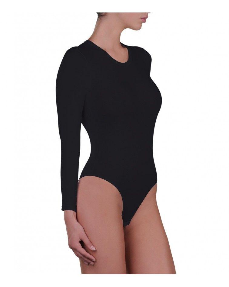 Body, long sleeve, micromodal, black