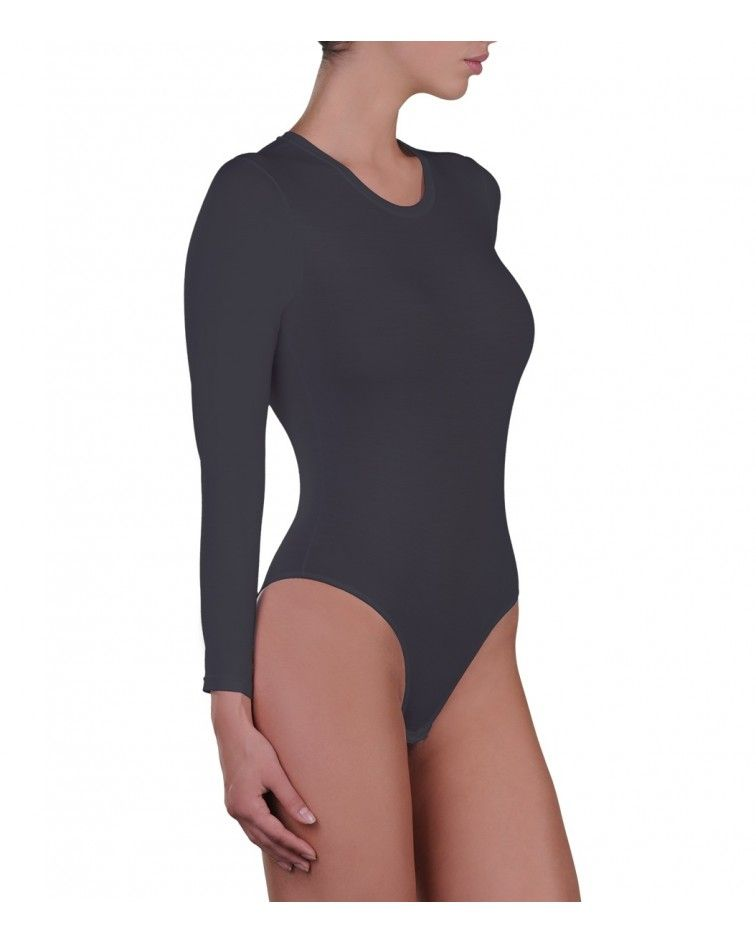 Body, long sleeve, micromodal, charcoal