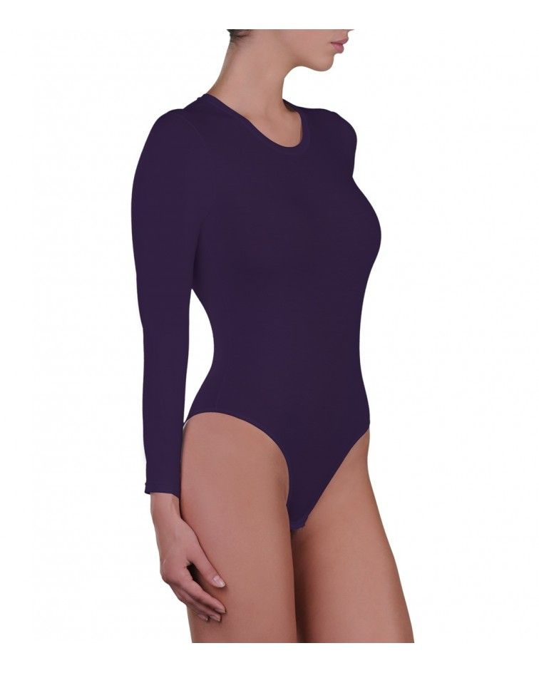 Body, long sleeve, micromodal, purple