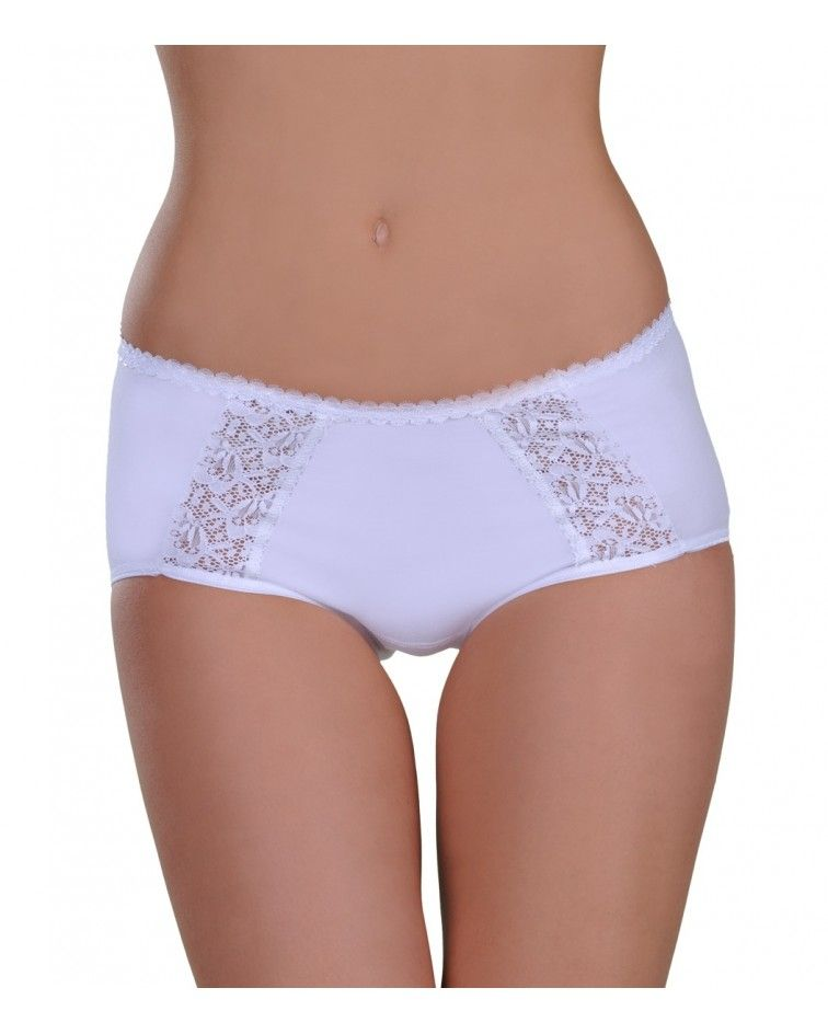 Panty, midi, double lace, white