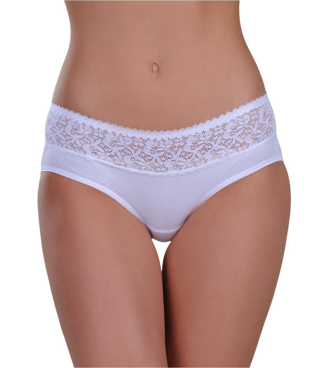 Panty midi, double lace, white