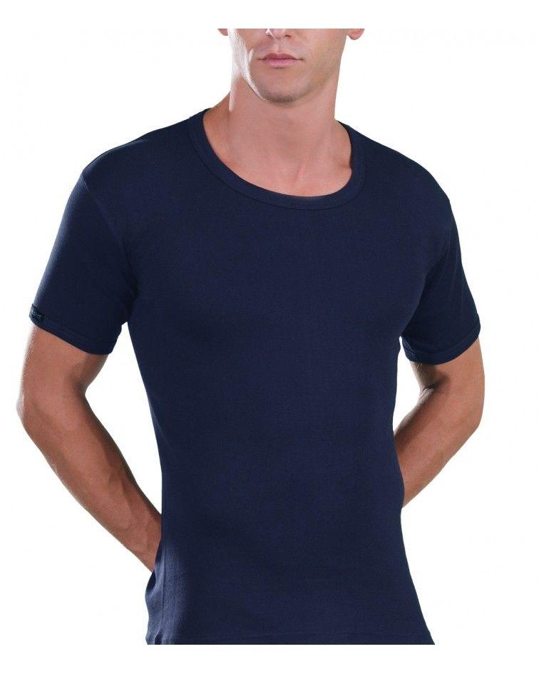 Open Neck T-Shirt, blue