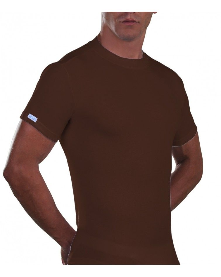 T-Shirt, crew neck, Cotton. brown