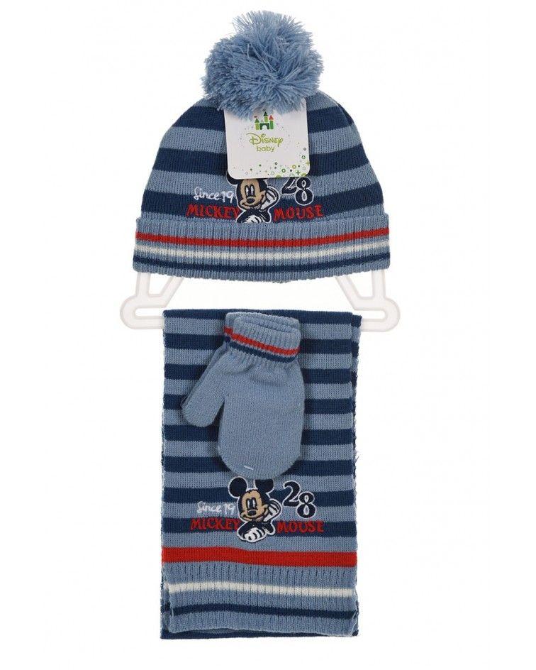 Disney ΣΕΤ Σκουφί με γάντια και κασκόλ, Σιέλ
