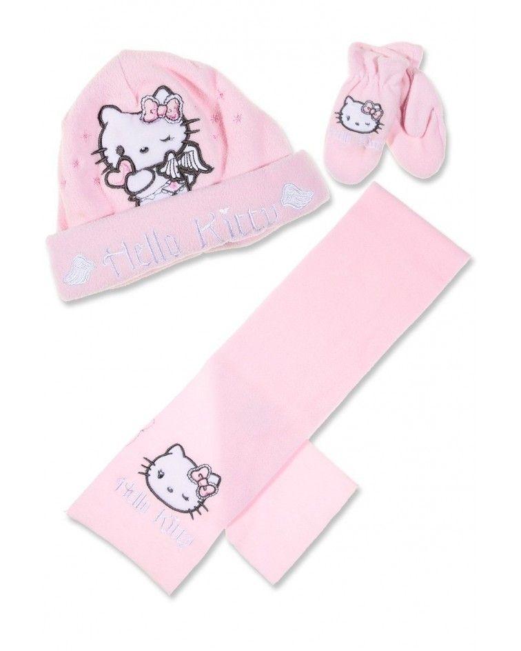 Hello Kitty ΣΕΤ σκουφάκι γάντια κασκόλ, ροζ