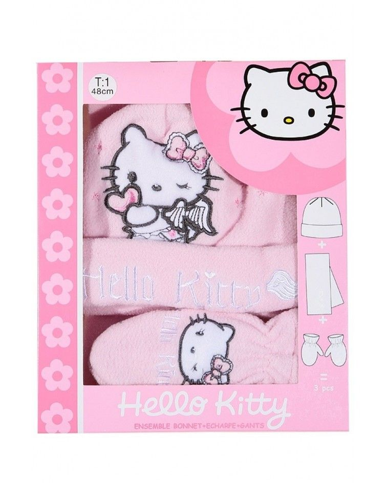 Hello Kitty Set, hat, pair of gloves and a scarf, pink