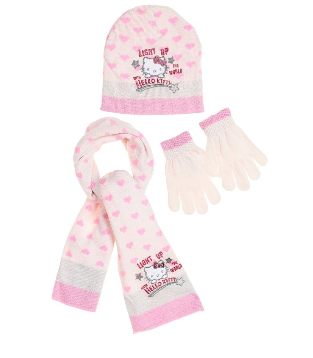 Hello Kitty Set, hat, pair of gloves and a scarf, cream