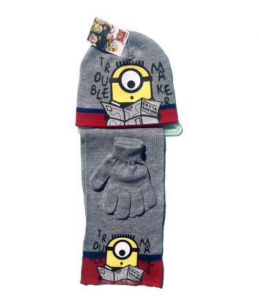 Minions Set, hat, pair of gloves and a scarf, grey