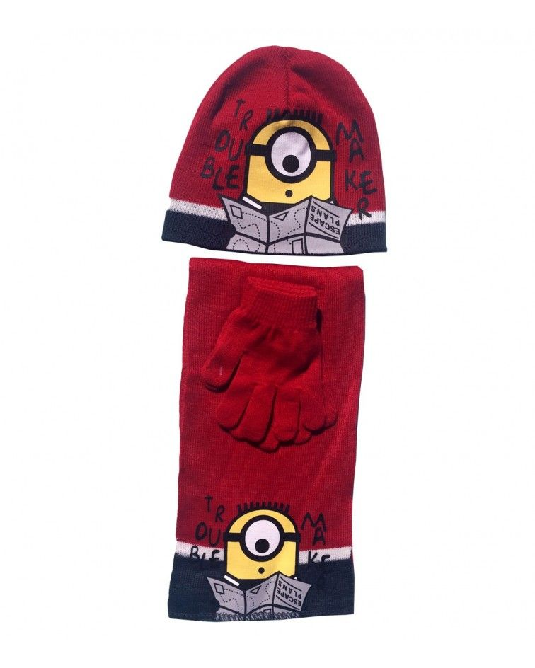 Minions Set, hat, pair of gloves and a scarf, red