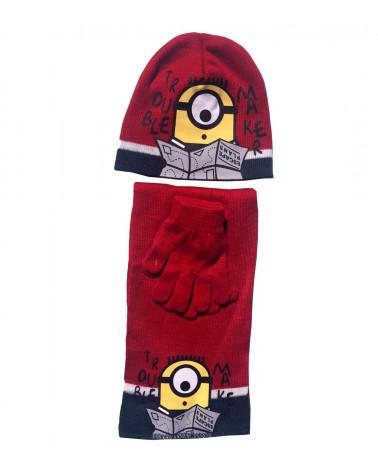 Minions ΣΕΤ Σκουφί με γάντια και κασκόλ, κόκκινο