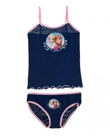 FROZEN SET Camisole-panty, cotton, blue