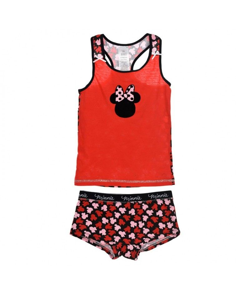 Girls Camisole-Boxer, Minnie Red