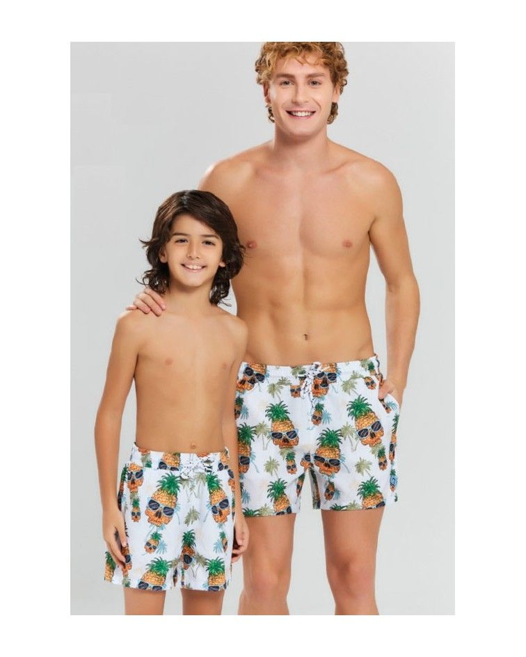 Boys swimwear, white, pineapple