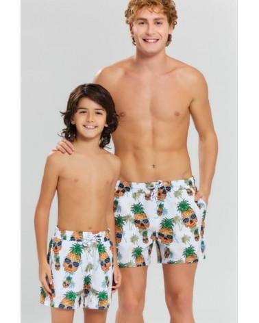 Boys swimwear, white, pineapple