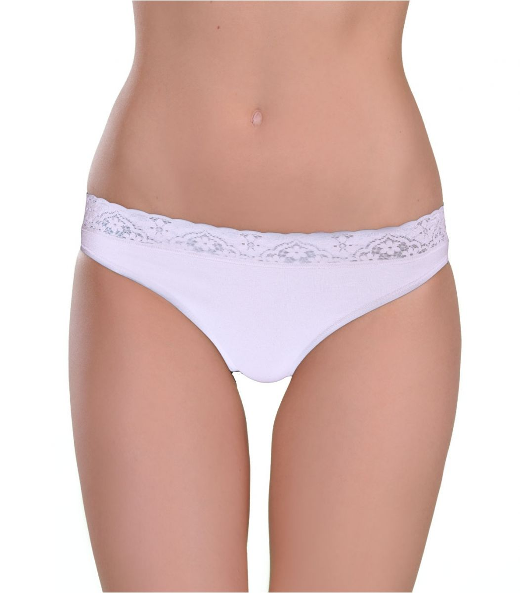 Panty brazil, rubber-lace, white