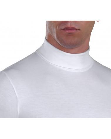 Ανδρική Μπλούζα ζιβάγκο, μακρύ μανίκι, λευκό-λεπτ