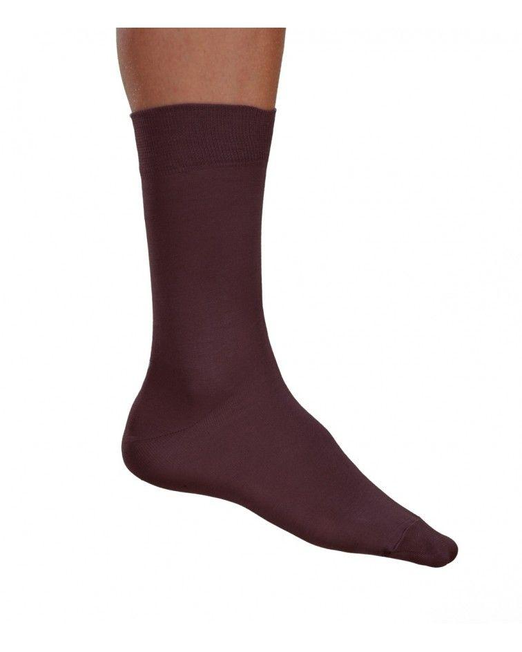 Κάλτσα γυαλιστερή Βαμβακερή, καφέ