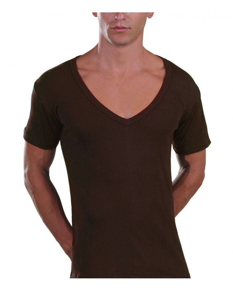 Too Open Neck T-Shirt, brown