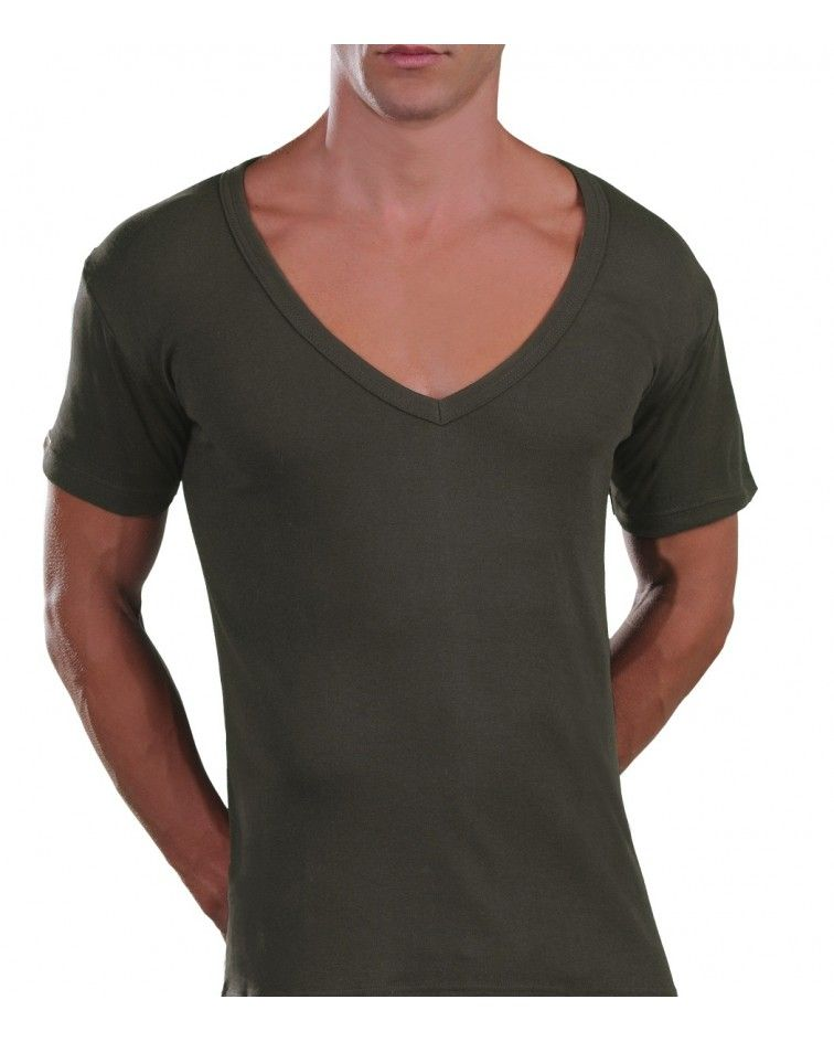 Too Open Neck T-Shirt, khaki