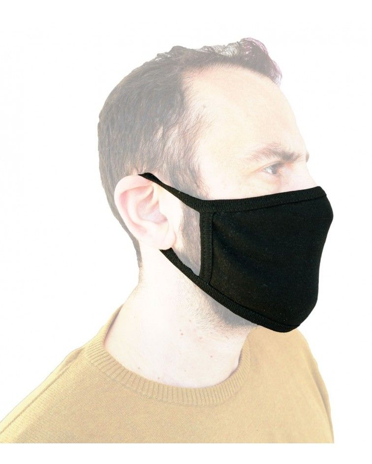 Βαμβακερή Μάσκα επαγγελματία επαναχρησιμοποιούμενη, μαύρη