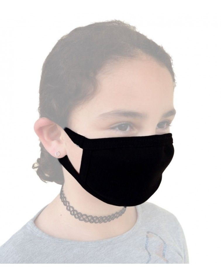 Παιδική - Εφηβική Βαμβακερή Μάσκα, μαύρη