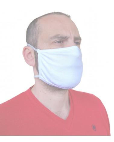 Επαγγελματική Υφασμάτινη Επαναχρησιμοποιούμενη προστατευτική Μάσκα Βαμβακερή με λάστιχο, λευκή