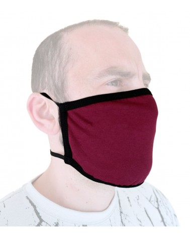 Επαγγελματική Υφασμάτινη Επαναχρησιμοποιούμενη προστατευτική Μάσκαμε λάστιχο, βυσσινή