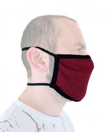 Επαγγελματική Βαμβακερή Υφασμάτινη Επαναχρησιμοποιούμενη προστατευτική Μάσκα με λάστιχο, βυσσινή