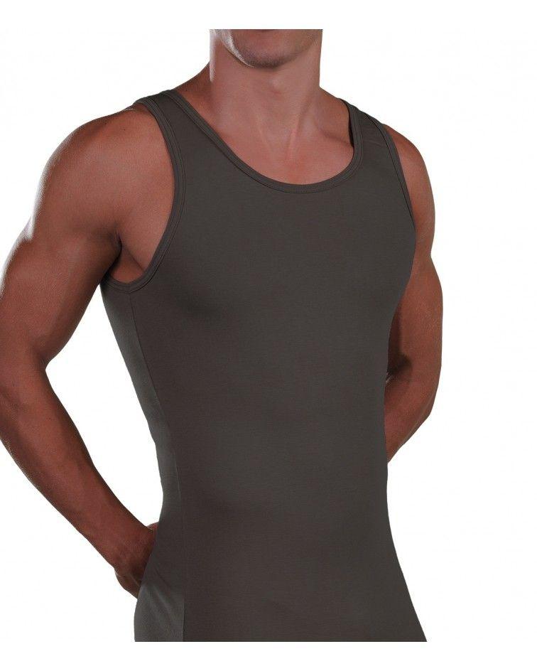 Men Tank Top, Cotton-Elastan, White
