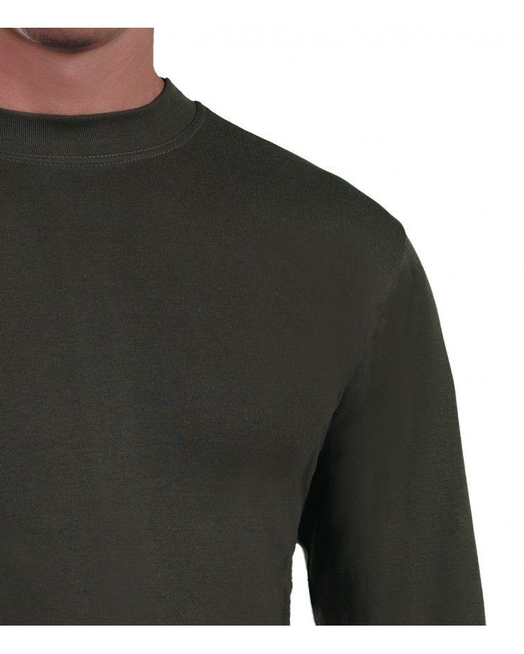 Mens Long sleeve, crew neck, khaki-detail
