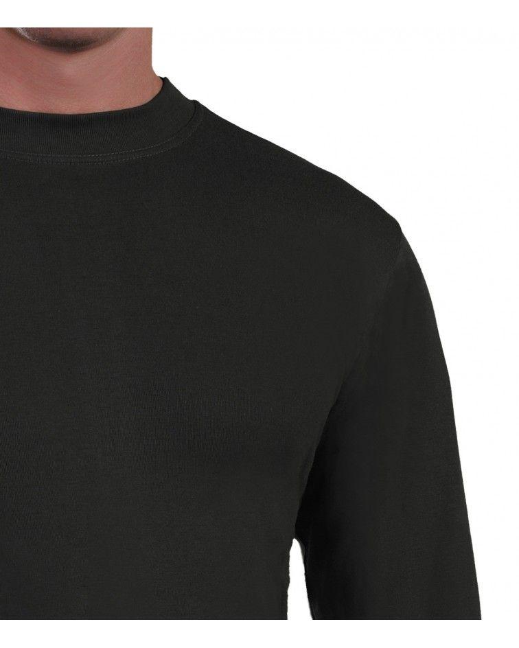 Mens Long sleeve, crew neck, black-detail