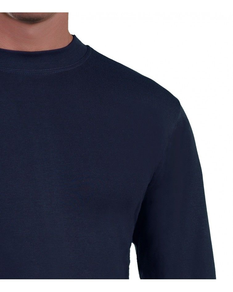 Mens Long sleeve, crew neck, blue-detail