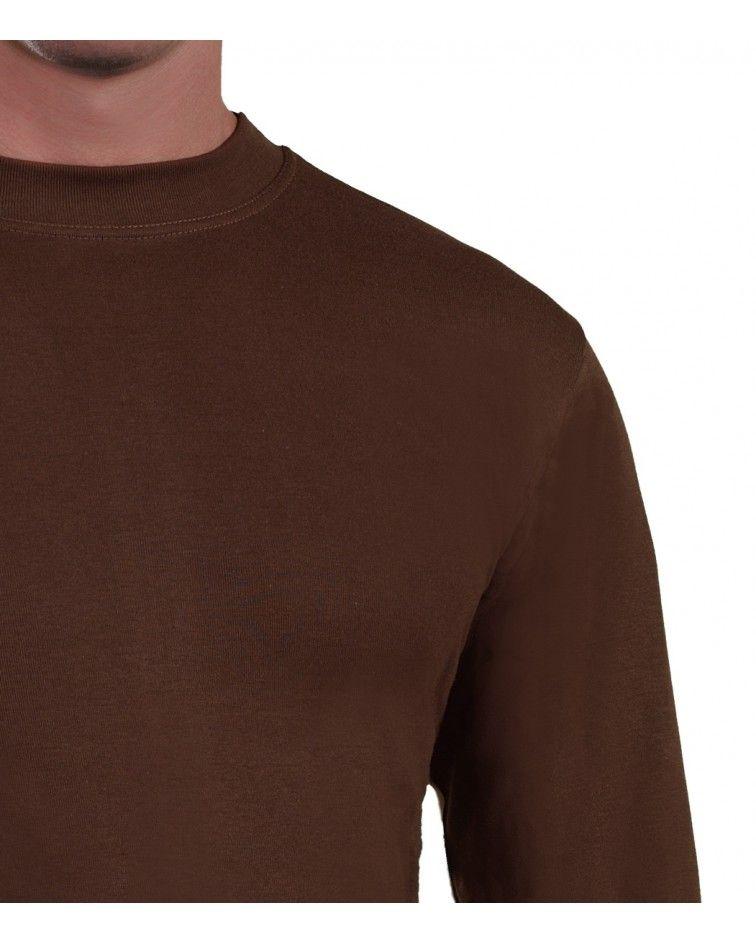 Mens Long sleeve, crew neck, brown-detail