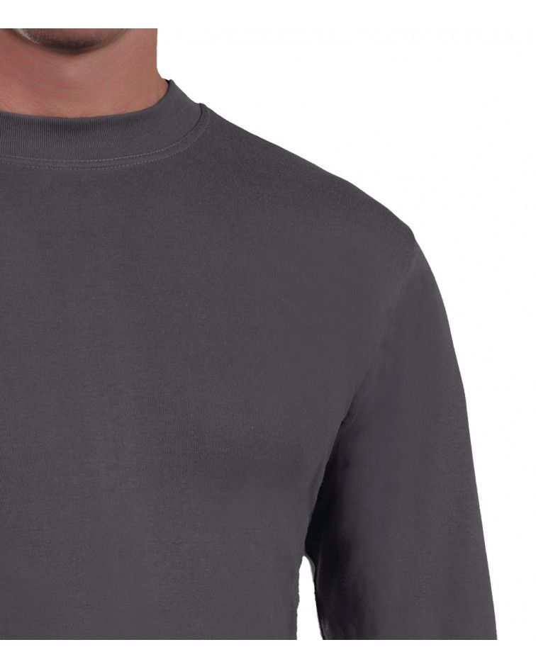 Mens Long sleeve, crew neck, charcoal-detail