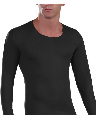 Open Neck T-Shirt, black