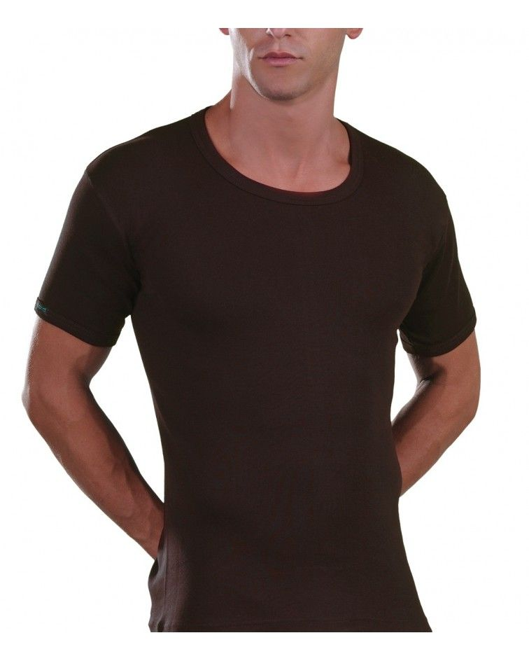 Open Neck T-Shirt, brown