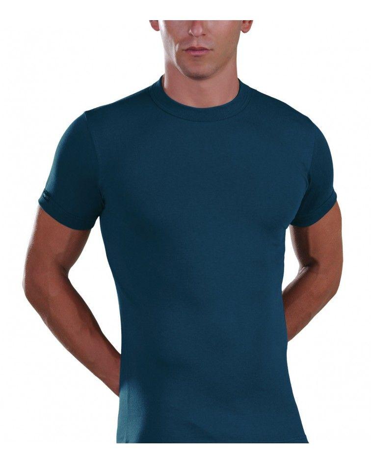 Men, T-Shirt, Elastic, blue opal