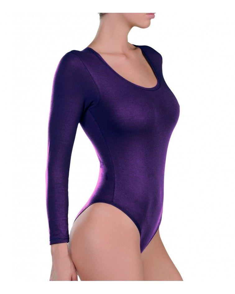 Body, sleeve, open neck, micromodal, PURPLE