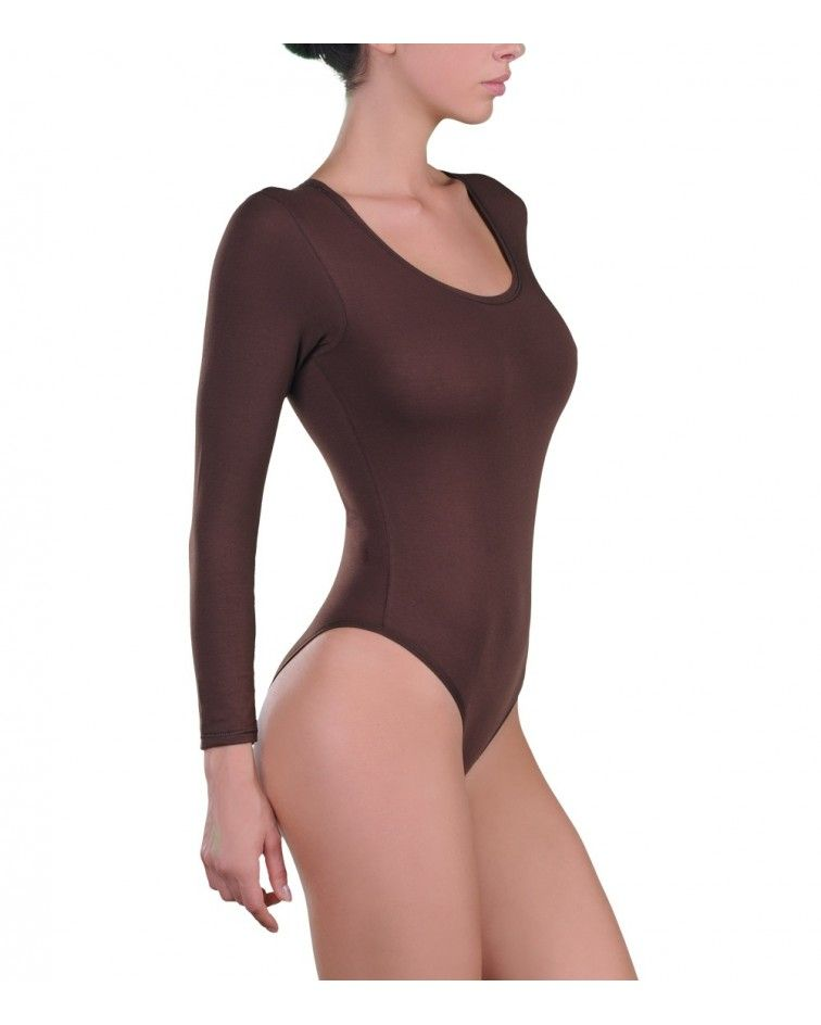 Body, sleeve, open neck, micromodal, brown