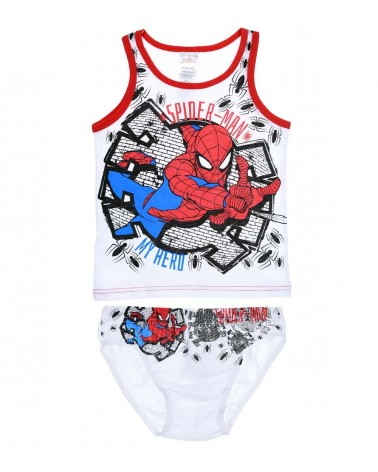Αγοριών Τιράντα & Σλιπ, Set Spiderman, λευκό